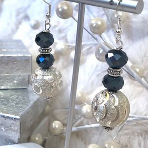 Handmade Sterling Earrings Silver Pl. Etched Balls